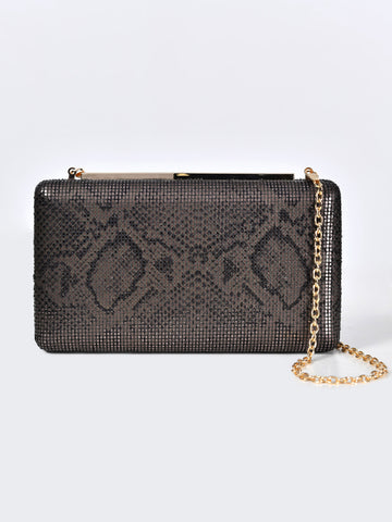Snake Patterned Hard Clutch