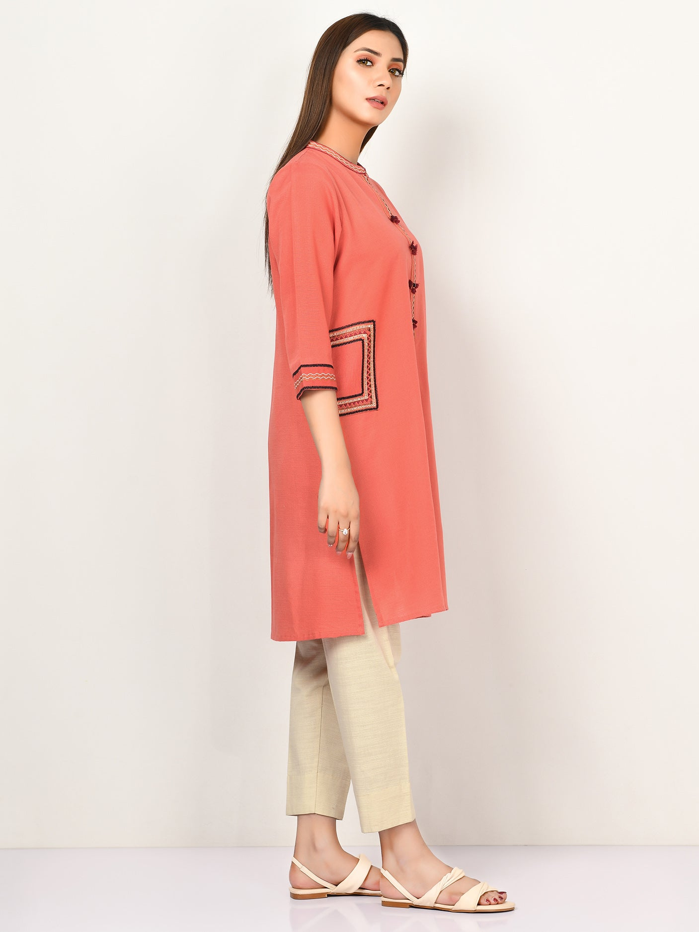 Embroidered Slub Khaddar Shirt