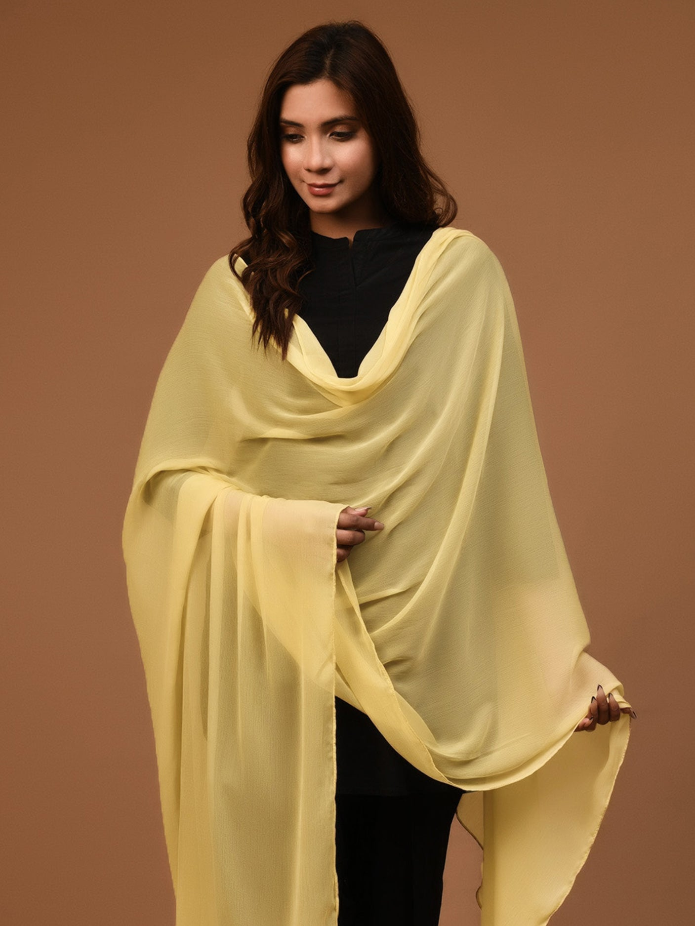 Chiffon Dupatta - Lemon Yellow