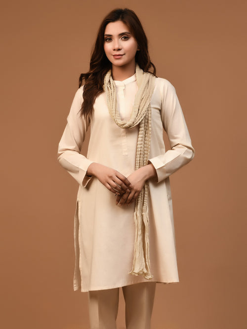 Crushed Dupatta - Light Golden