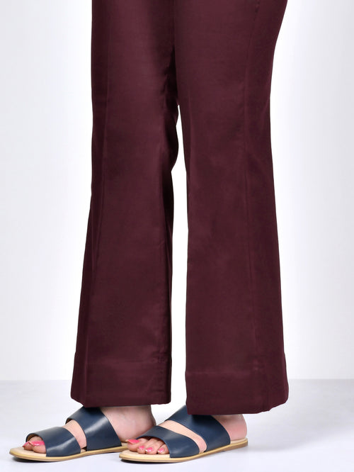 Straight Pants-Dark Maroon