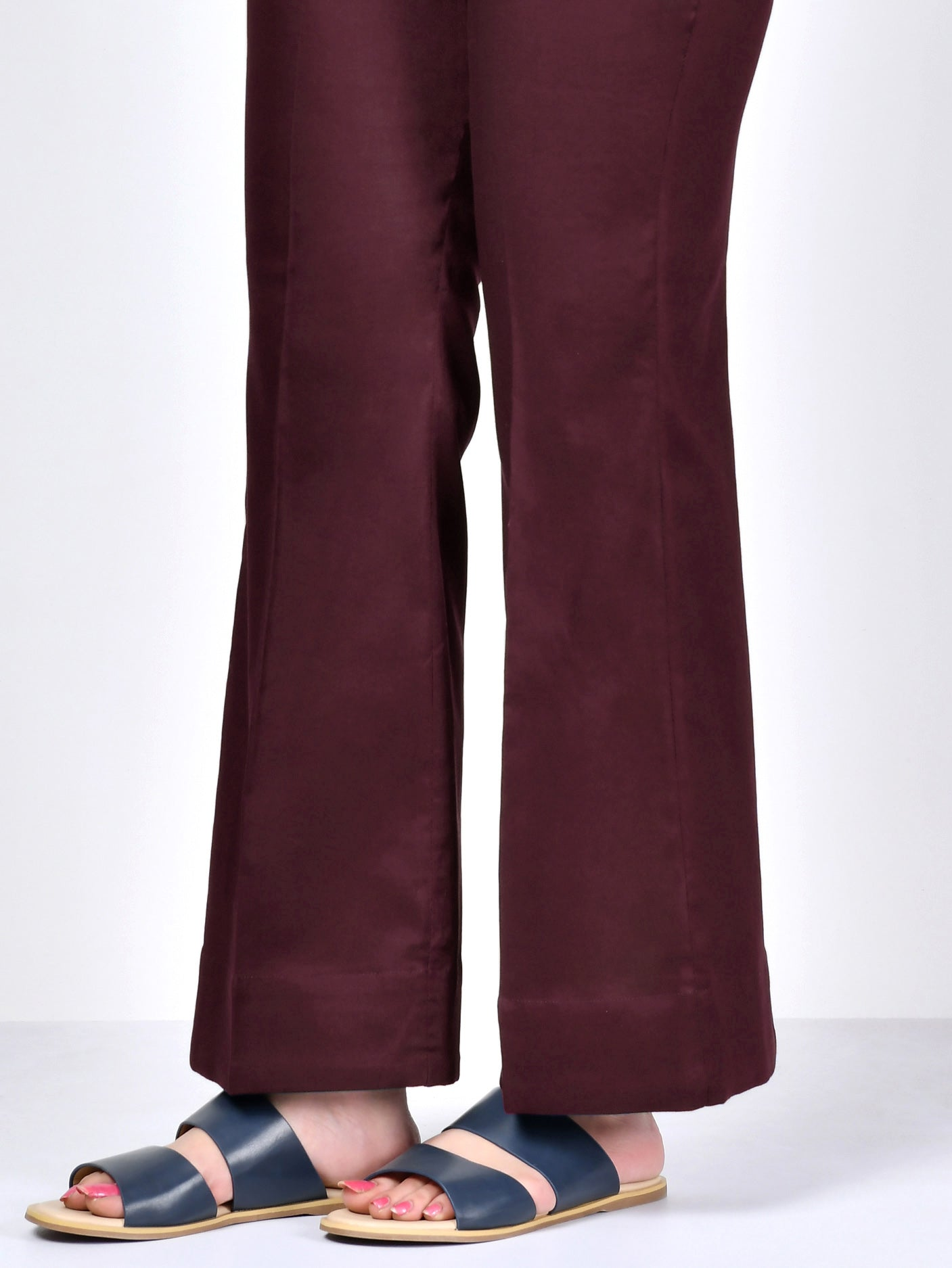 Bootcut Pants-Dark Maroon