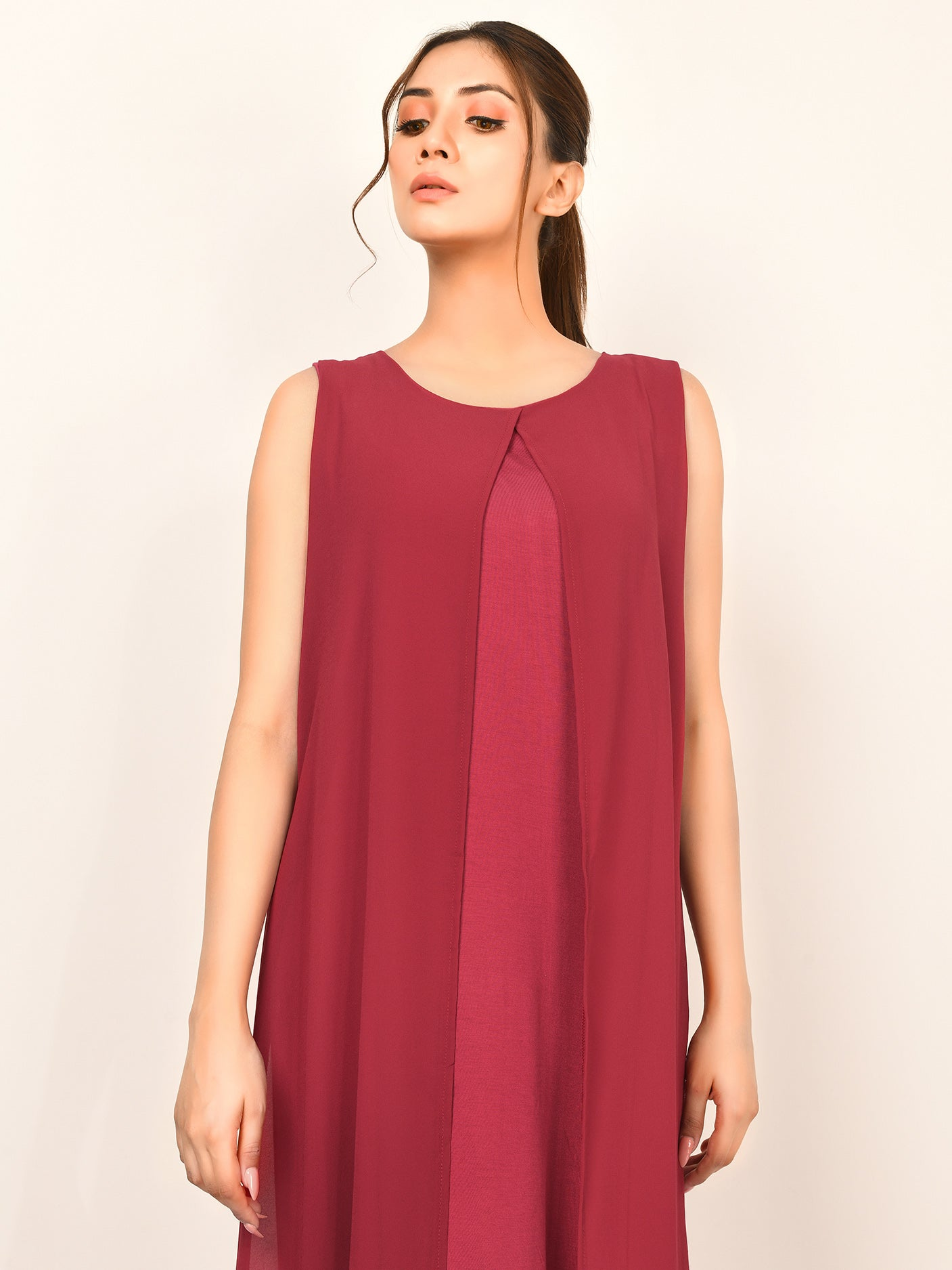 Front Open Chiffon Dress