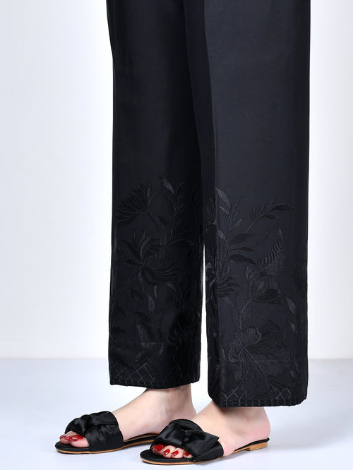 Embroidered Crepe Pants