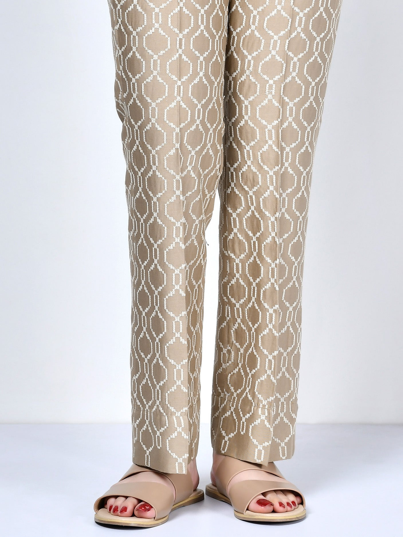 Embroidered Satin Pants