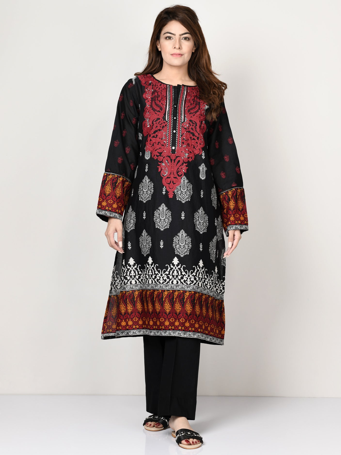 Limelight Online Embroidered Stone Shirt P0147-GRN