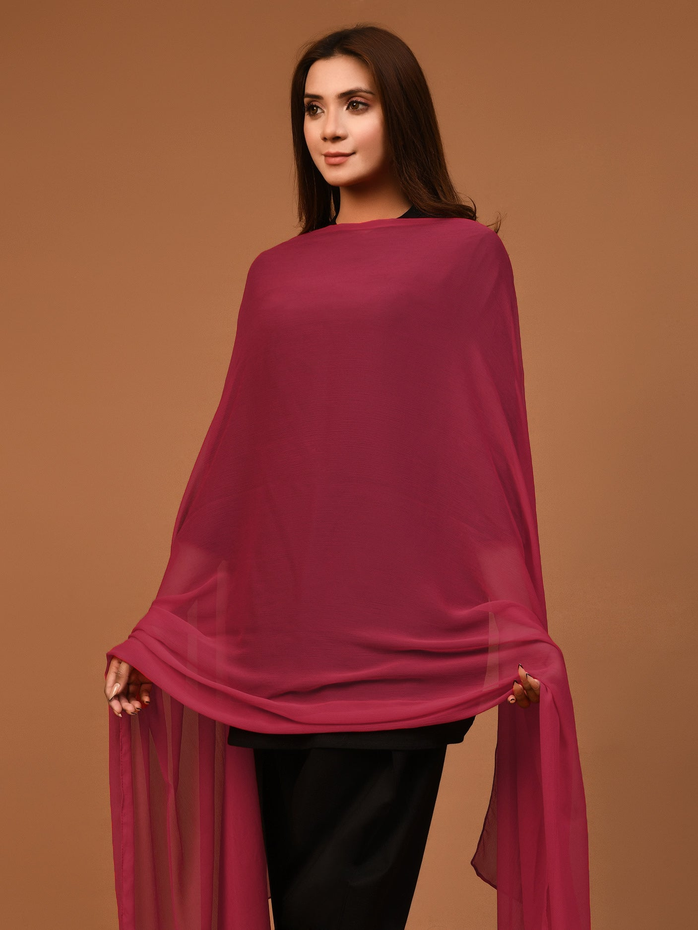 Chiffon Dupatta - Ruby Red