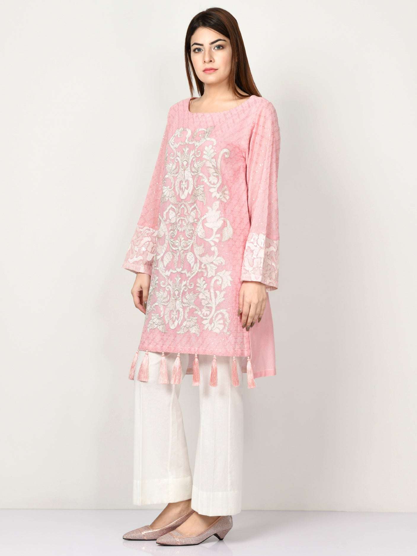 Embroidered Net Shirt