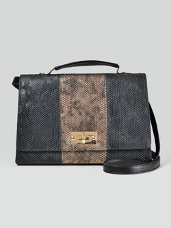 Two-Toned Textured Handbag