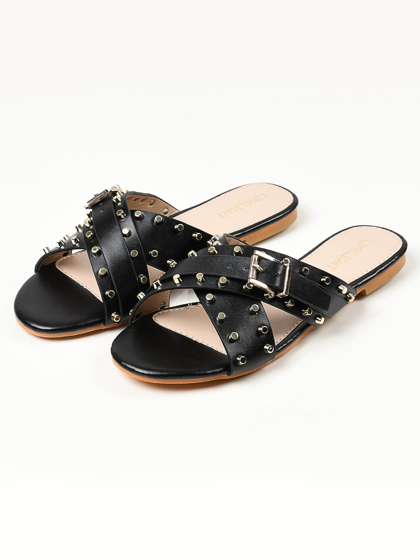 Crisscross Studded Flats - Black