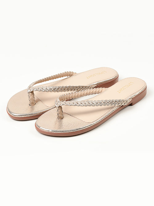 Shimmer Braided Flip Flops - Gold