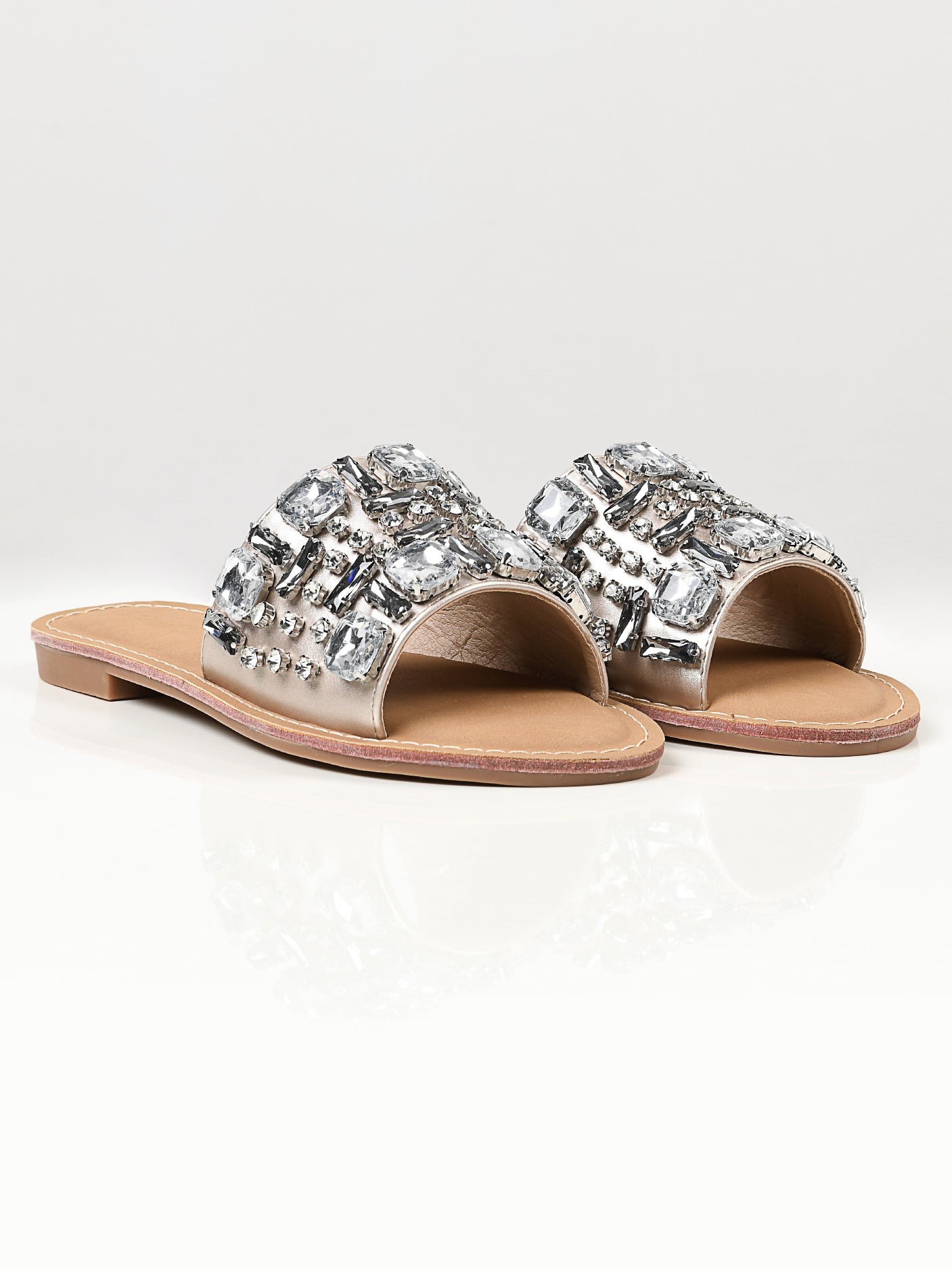 Stone Studded Flats - Light Gold