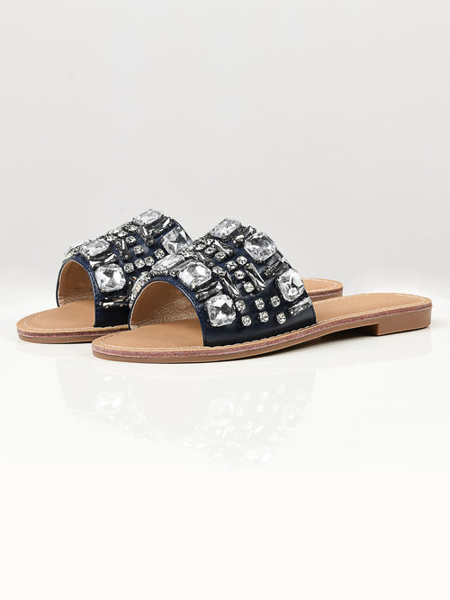Stone Studded Flats - Navy Blue