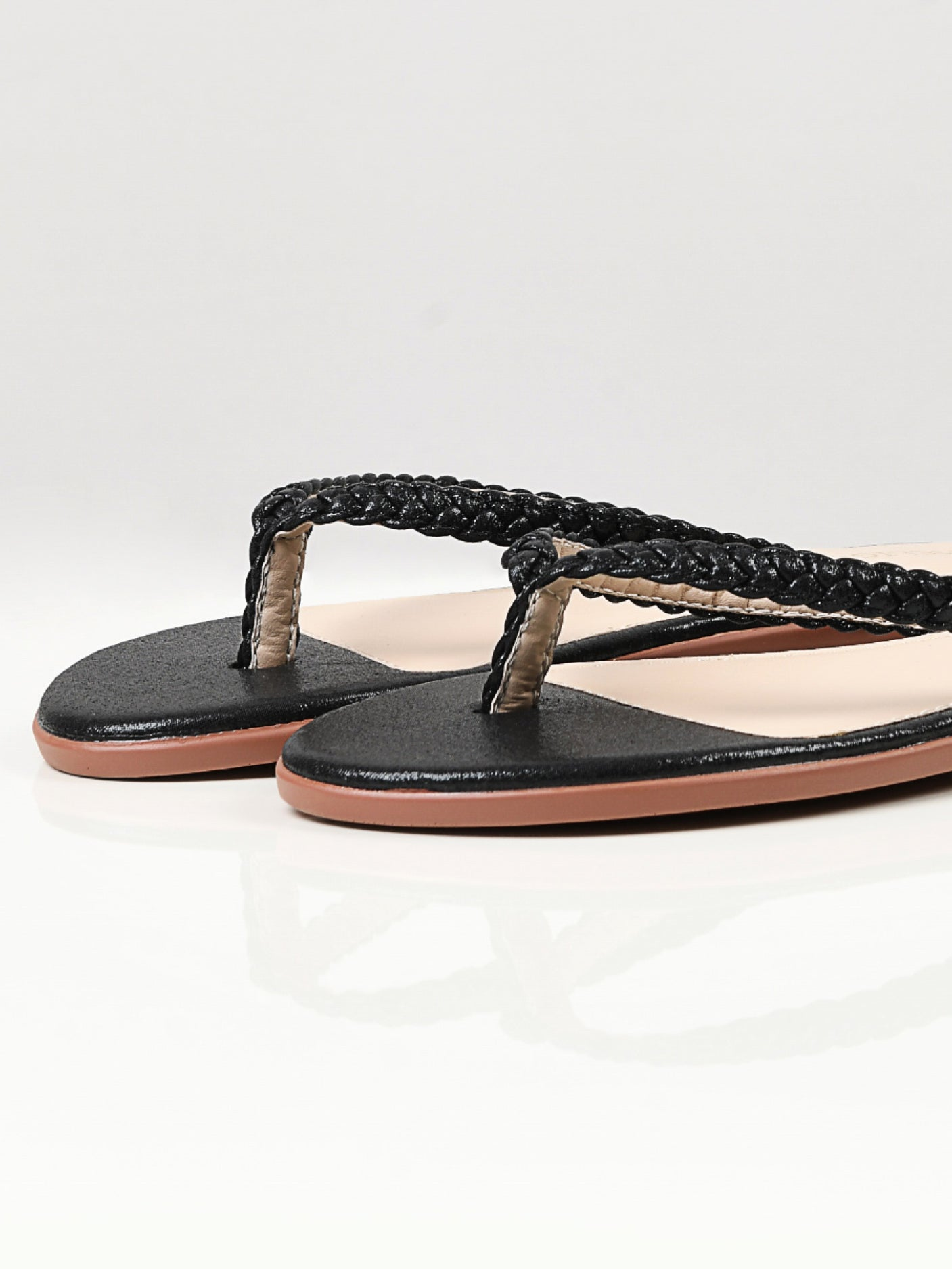 Shimmer Braided Flip Flops - Black