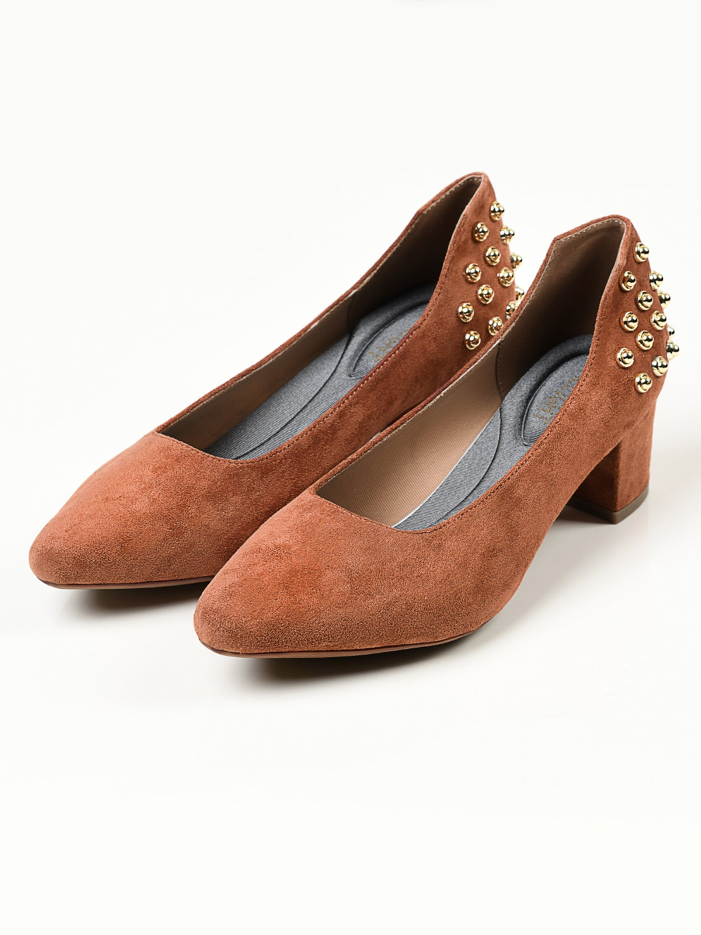 Studded Suede Heels - Brown