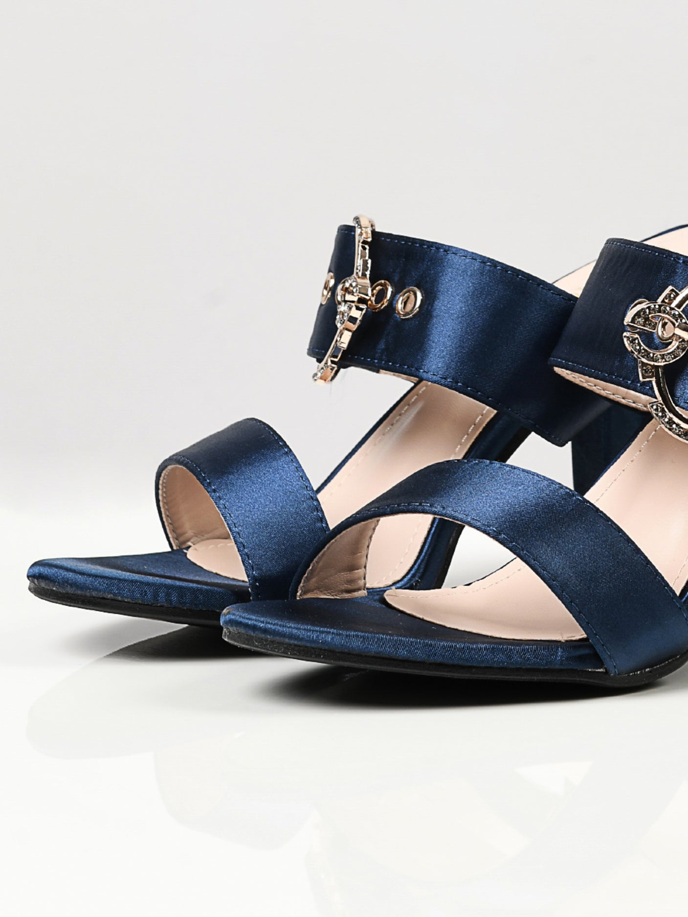 Satin Buckle Heels - Blue