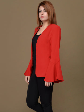 Ruffle Sleeved Coat - Light Red