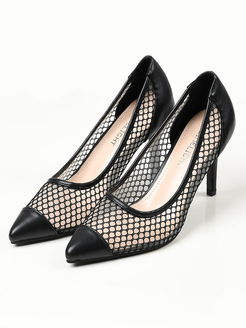 Pointed Net Heels - Black