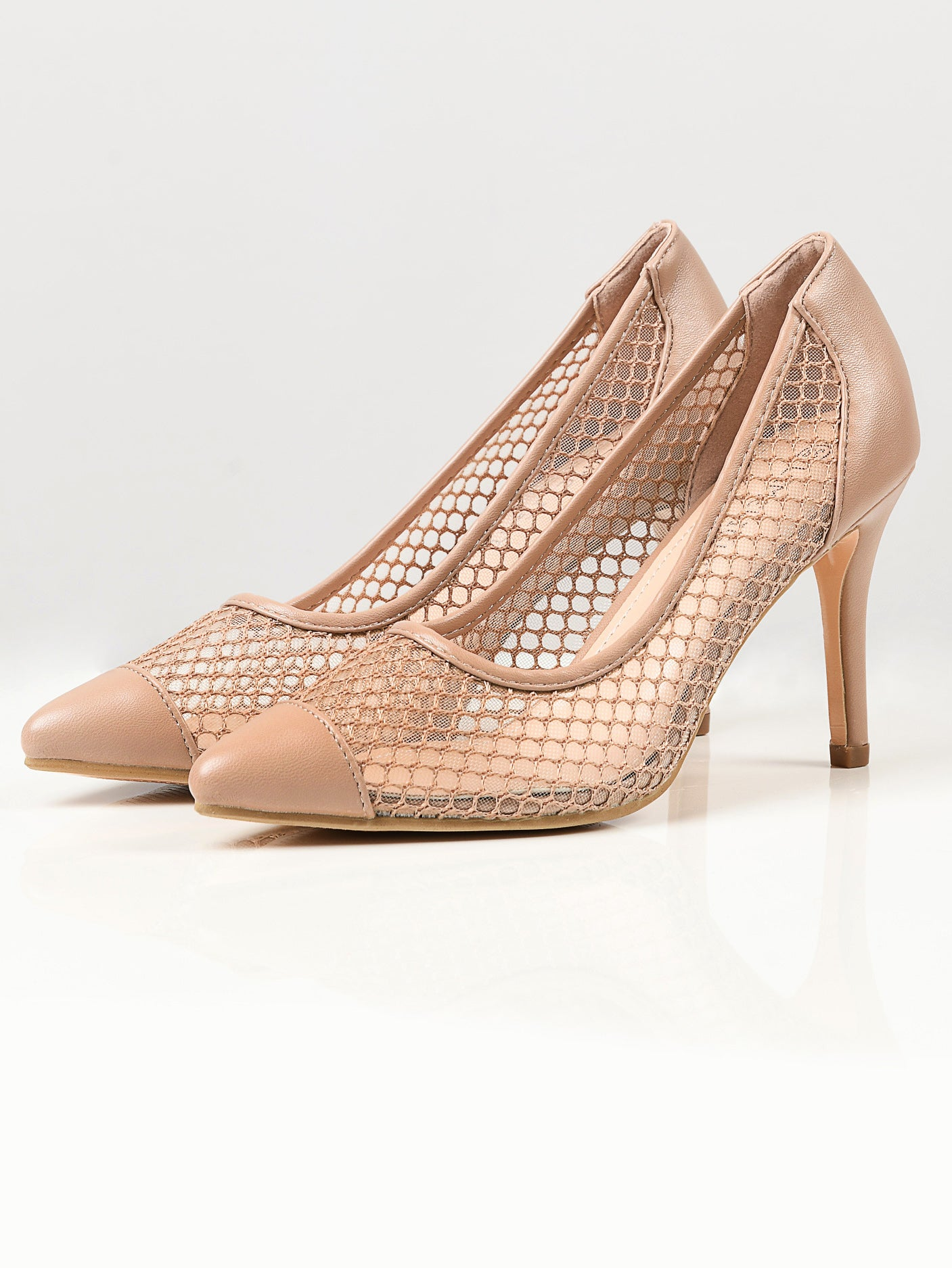 Pointed Net Heels - Skin
