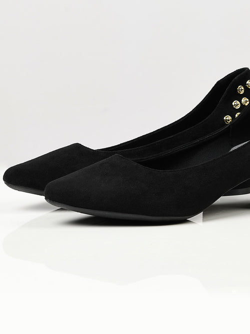 Studded Suede Heels - Black