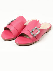 Crystal Buckle Flats - Shocking Pink