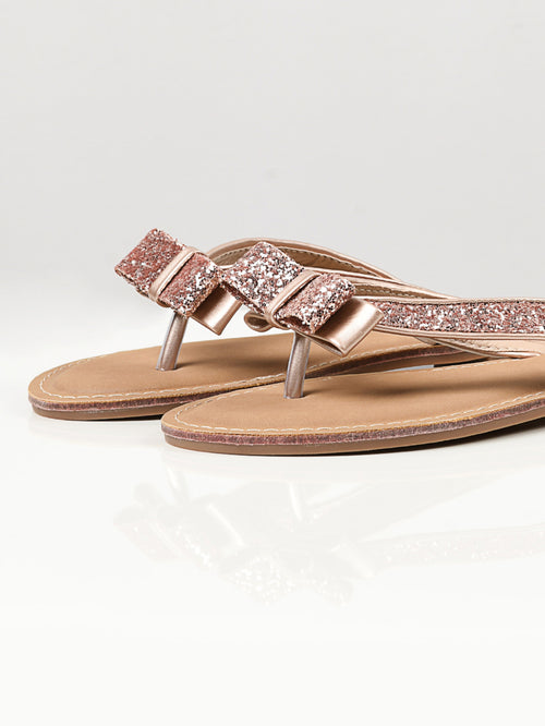 Glitter Bow Flip Flops - Light Pink
