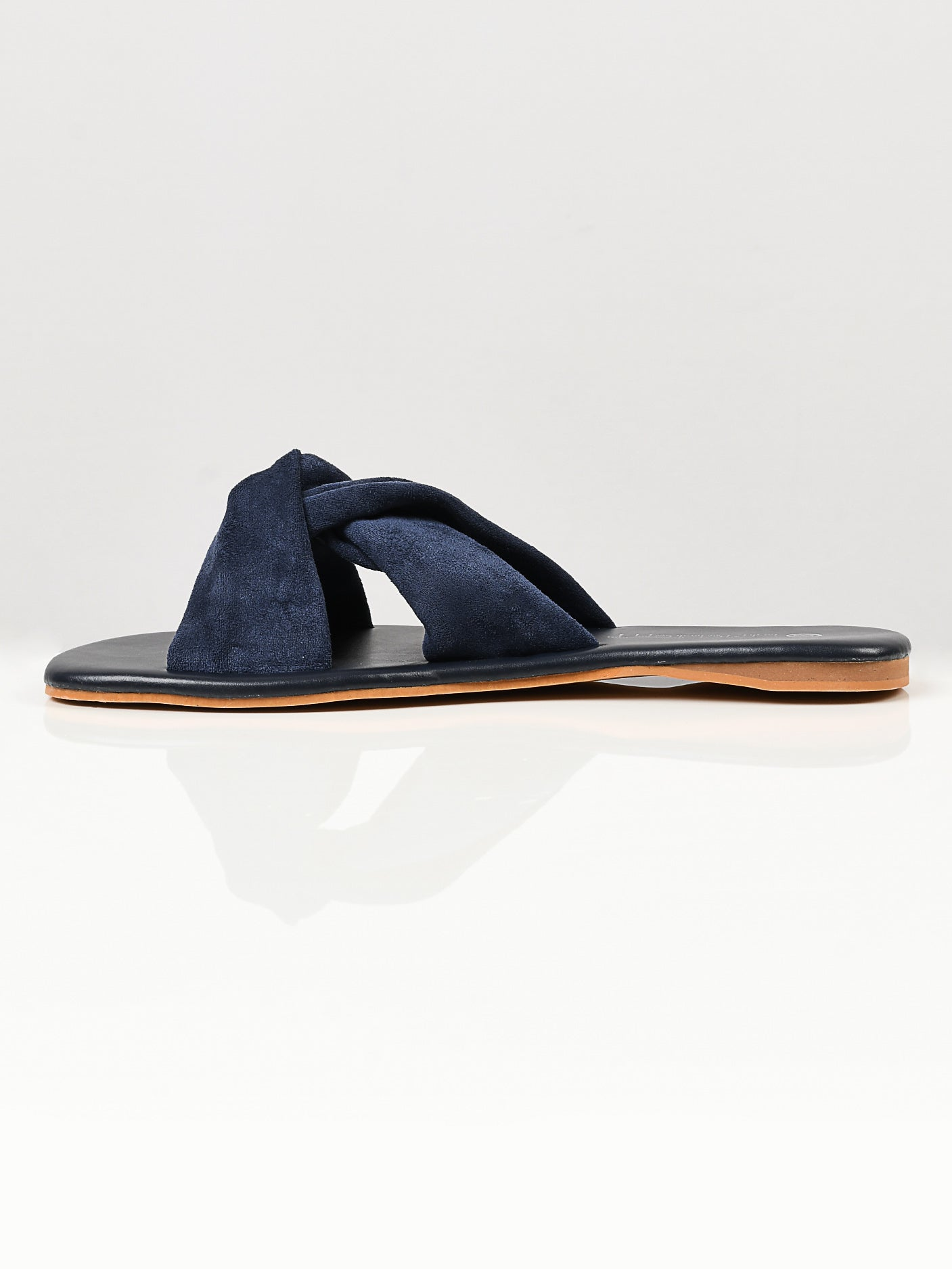 Knotted Suede Flats - Blue