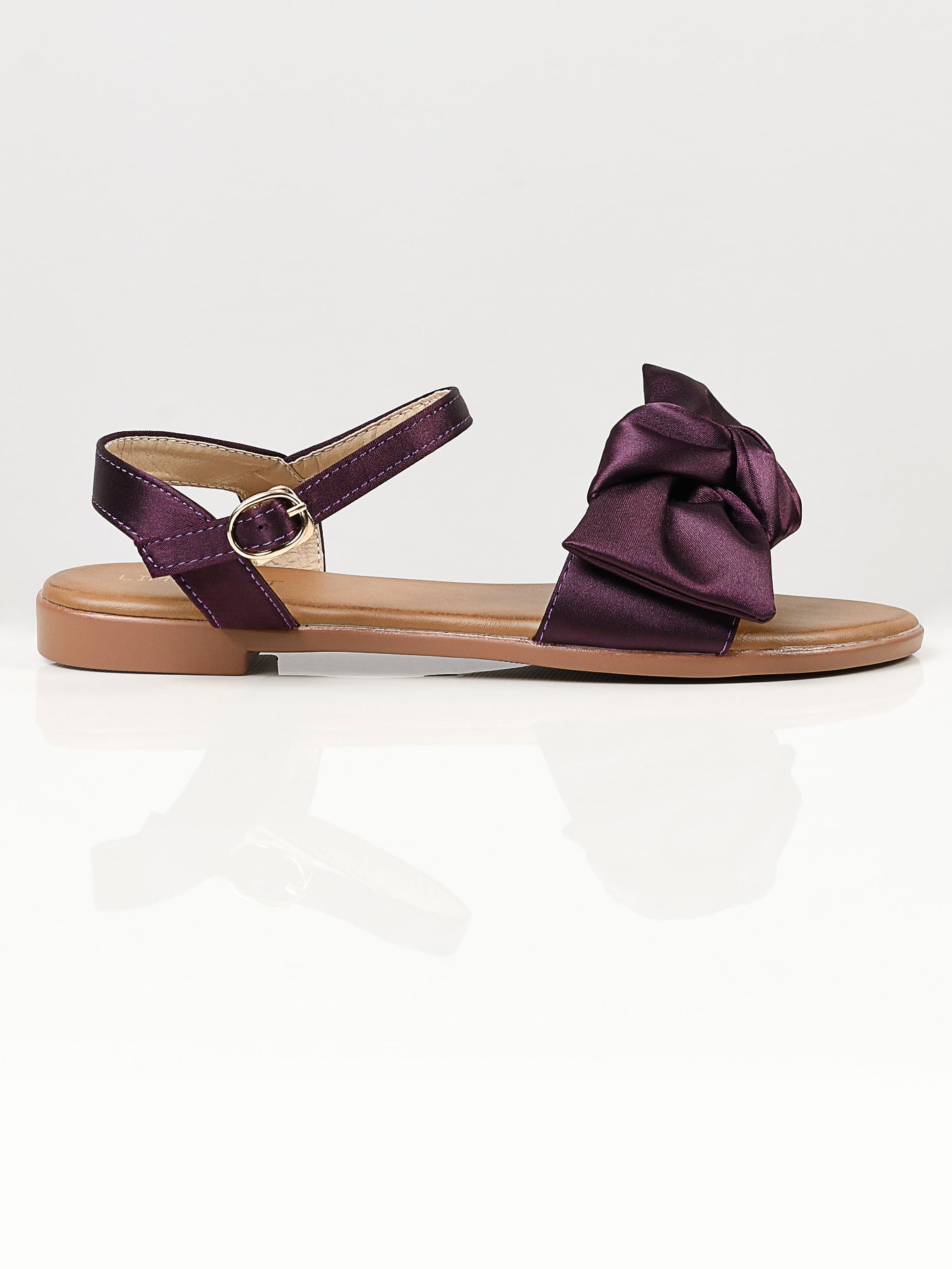 Satin Bow Sandals - Purple