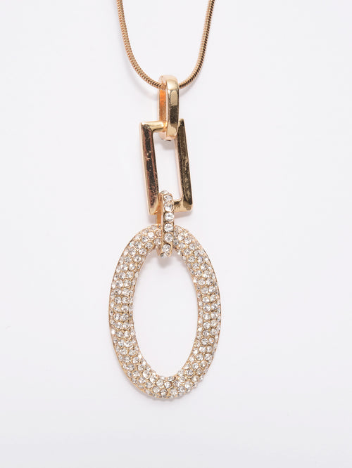 Oval Rhinestone Necklace