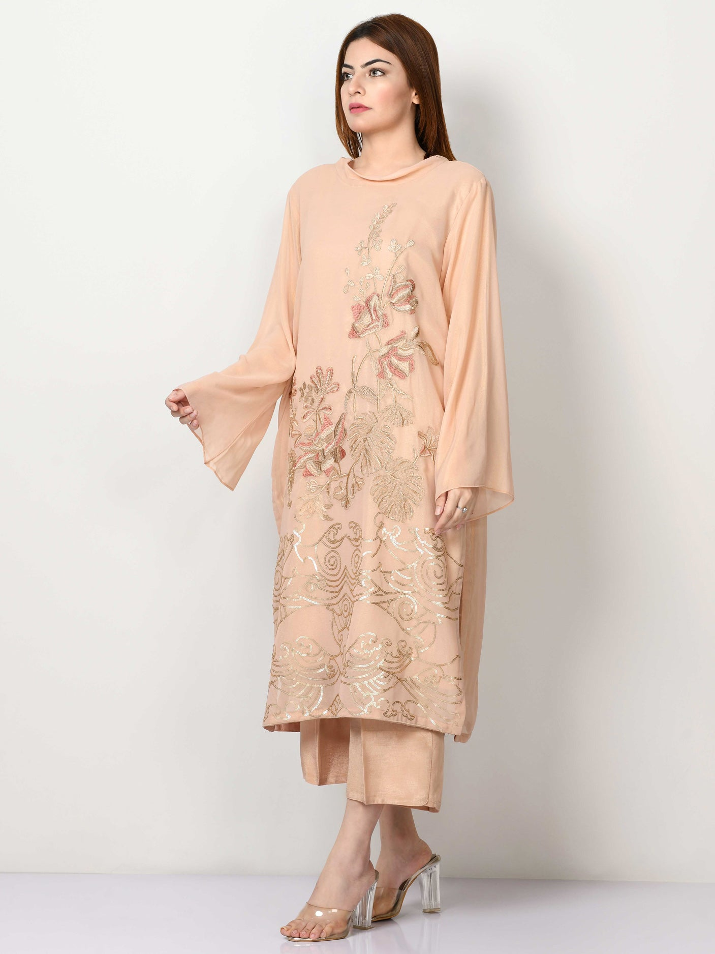 Embroidered Shimmer Chiffon Suit