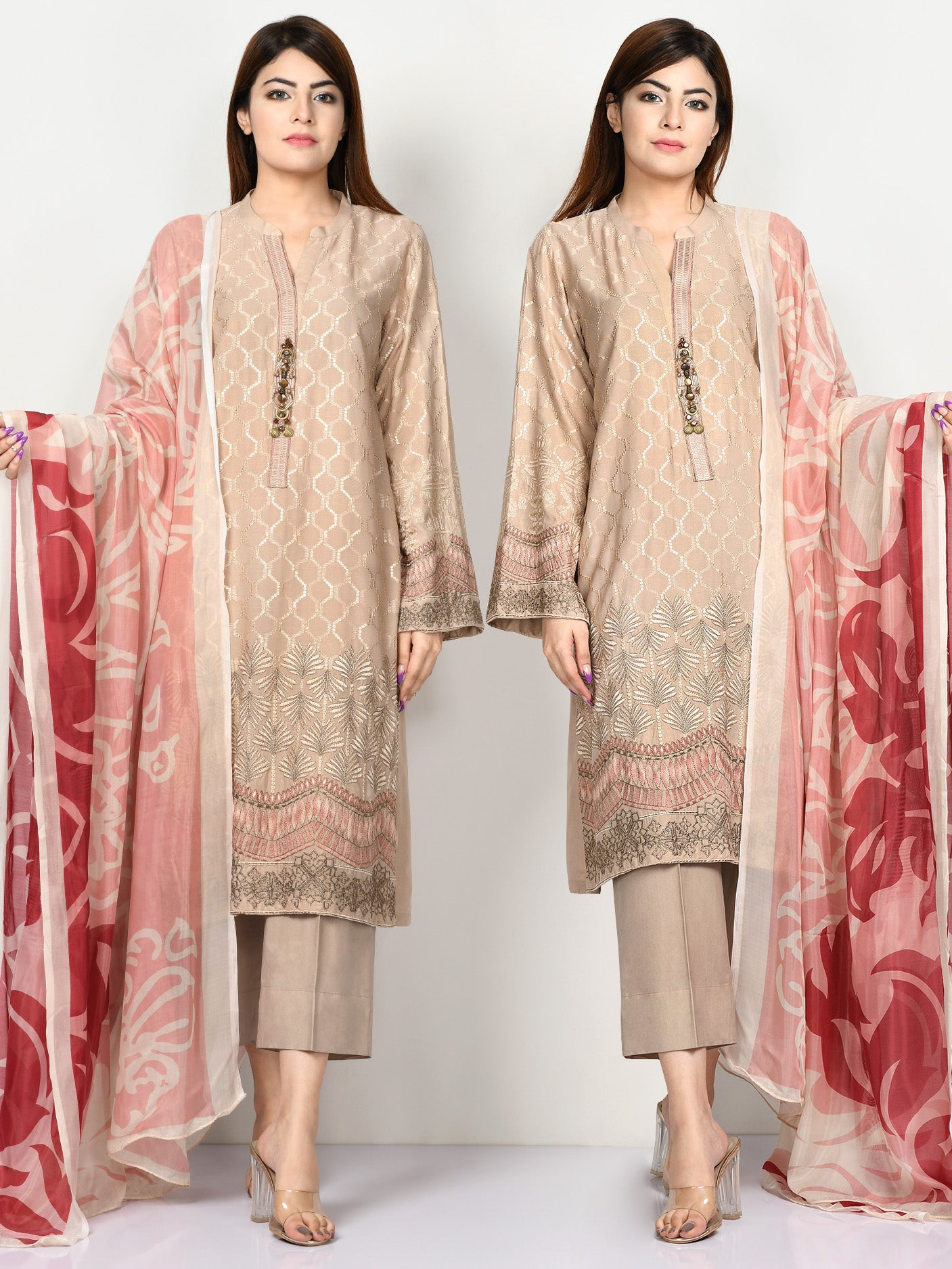 Embroidered Shimmer Arabic Lawn Suit