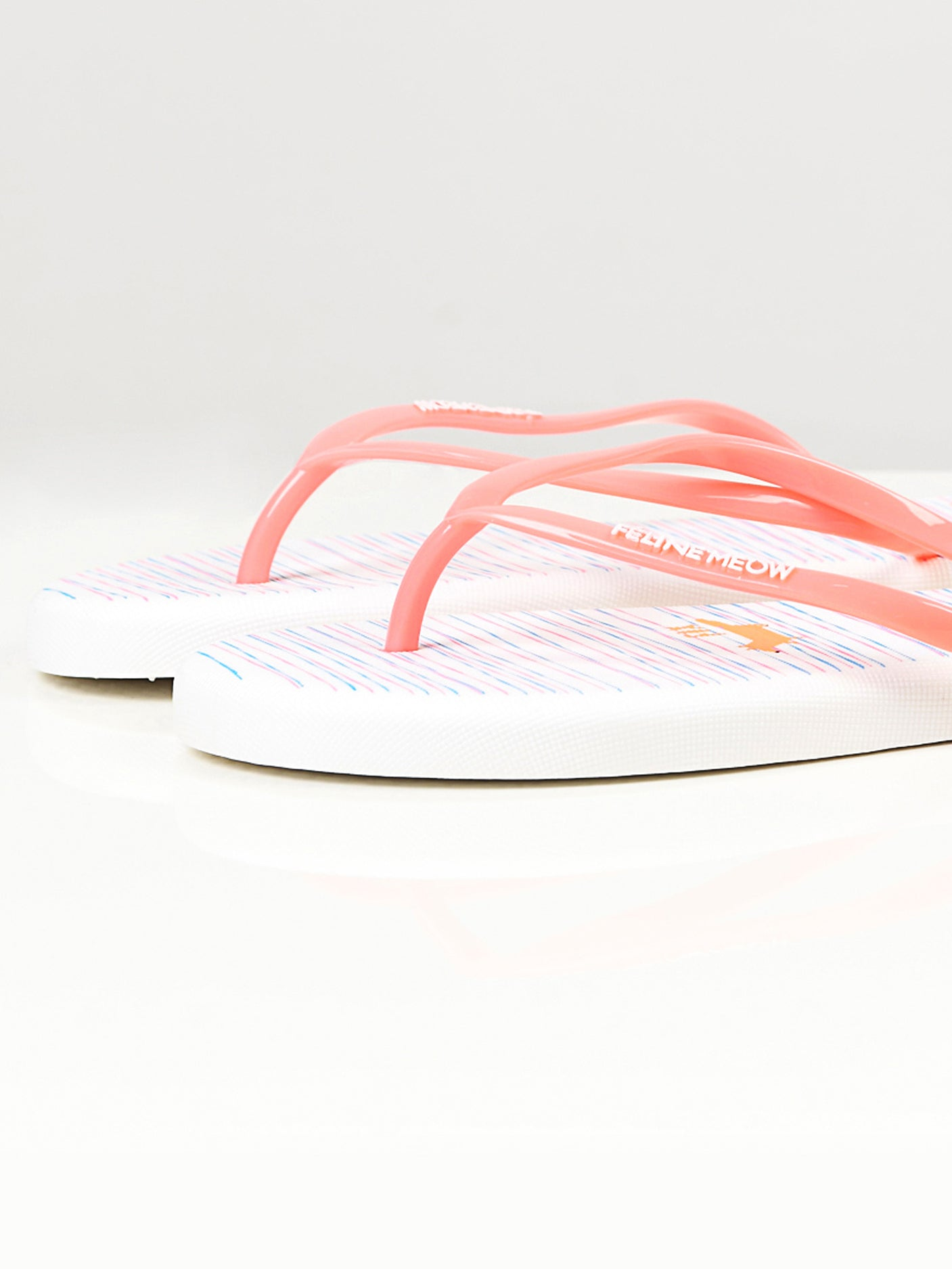 Printed Flip Flops -  White and Peach