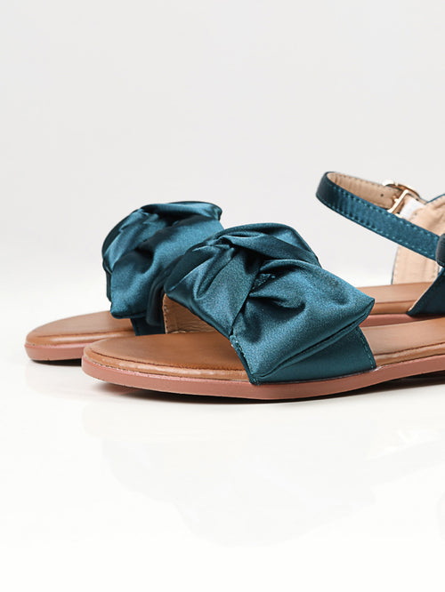Satin Bow Sandals - Green