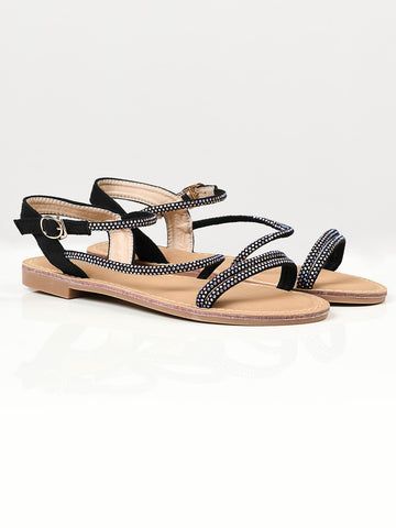 Shiny Sandals -  Black