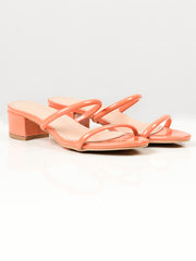 Glossy Block Heels - Orange