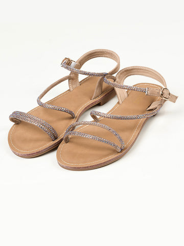 Shiny Sandals -  Beige