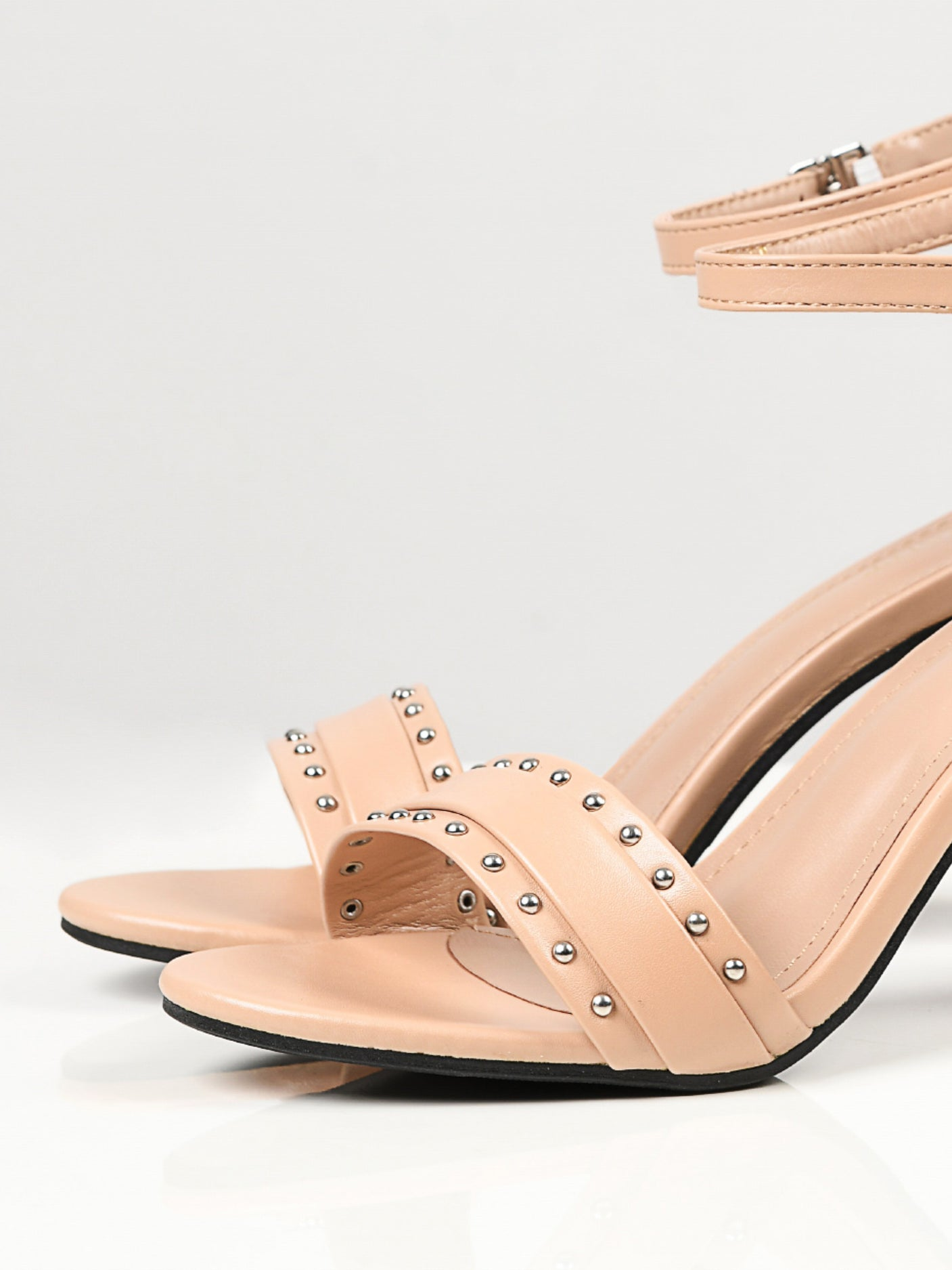 Studded Block Heels - Light Peach