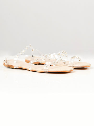 Pearl Studded Sandals - Beige