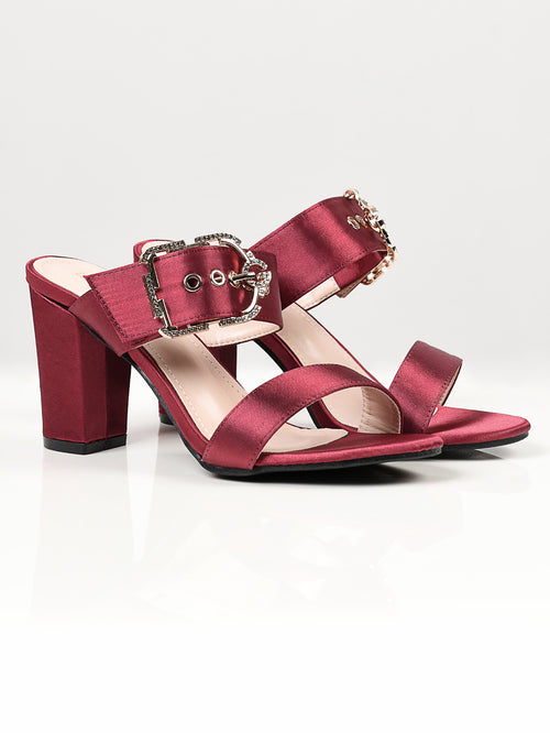 Satin Buckle Heels - Maroon