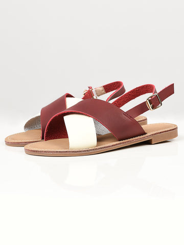 Crisscross Sandals - Maroon