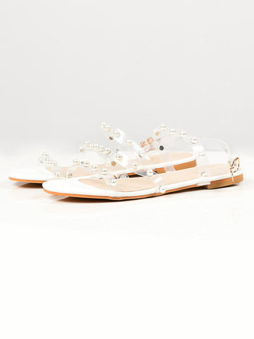 Pearl Studded Sandals - White