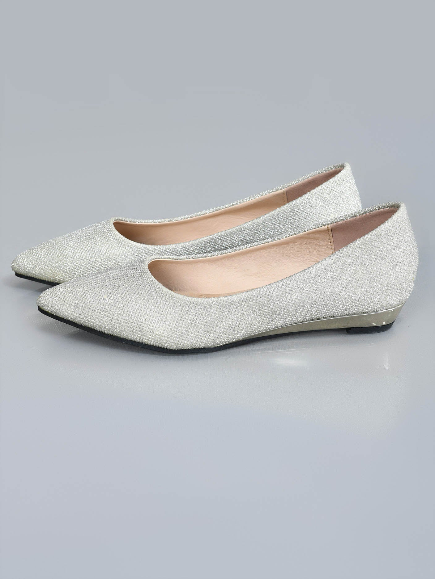 Shimmery Pointed Pumps - Light Golden