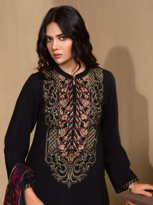 2-Pc Embroidered Khaddar Suit