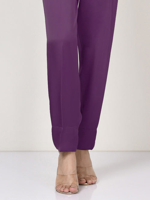 Silk Straight Trouser - Purple