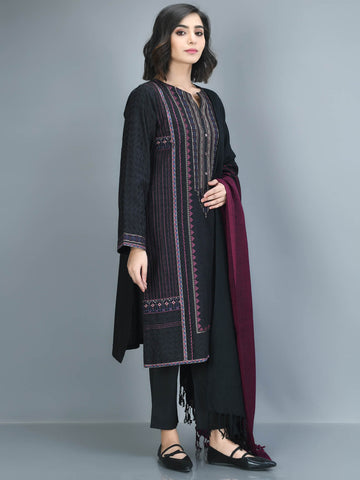 Embroidered Self Jacquard Suit