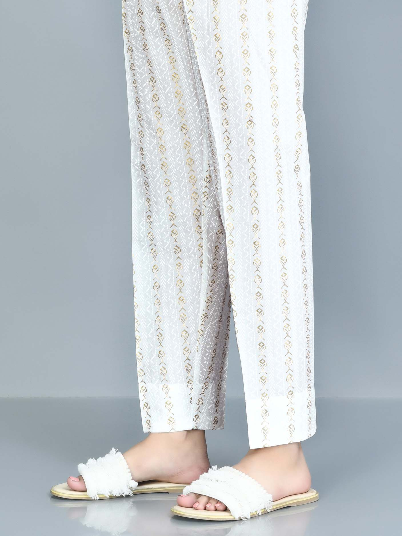 Printed Cambric Trouser - White