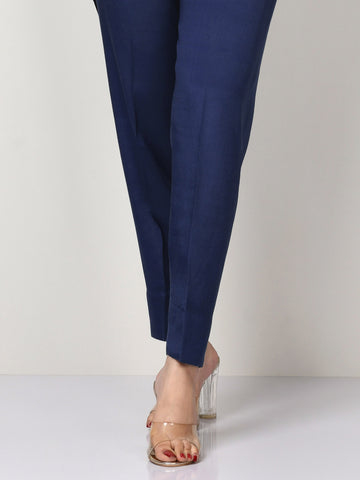 Raw Silk Trousers - Dark Blue