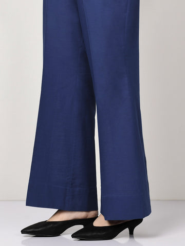 Raw Silk Pants - Dark Blue