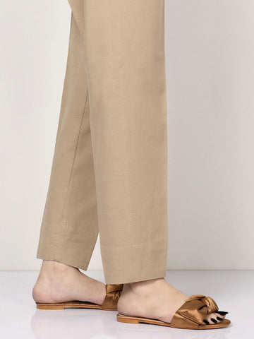 Raw Silk Trousers - Dark Beige