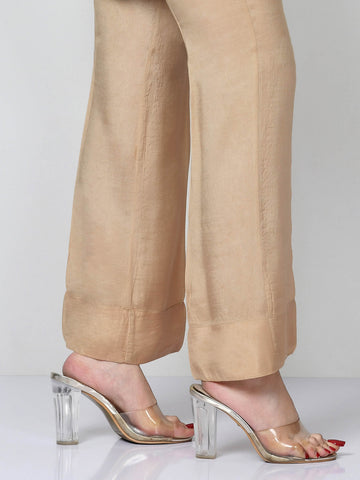 Raw Silk Pants - Dark Beige